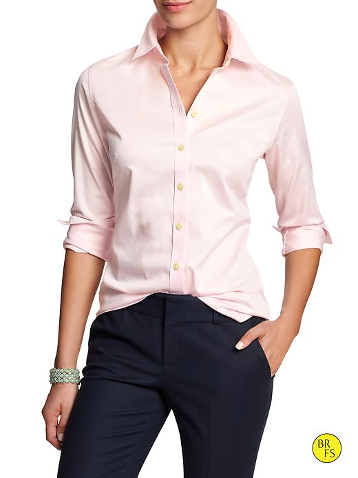 Banana Republic Womens Factory Non Iron Fitted Sateen Shirt Size 10 Petite - Pink dogwood