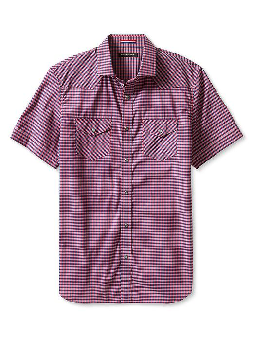 Banana Republic Slim Fit Gingham Western Shirt - Heartthrob