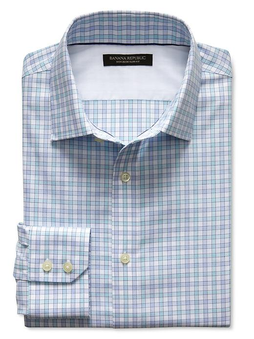 Banana Republic Slim Fit Non Iron Gingham Shirt - Turquoise sky