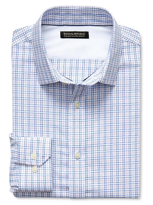 Banana Republic Tailored Slim Fit Non Iron Tonal Check Shirt - Berry paradise