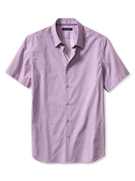 Banana Republic Slim Fit Arrow Print Short Sleeve Shirt - Magenta sky