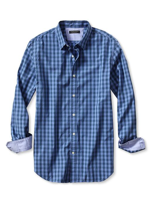 Banana Republic Slim Fit Soft Wash Tonal Gingham Shirt - Ocean surf