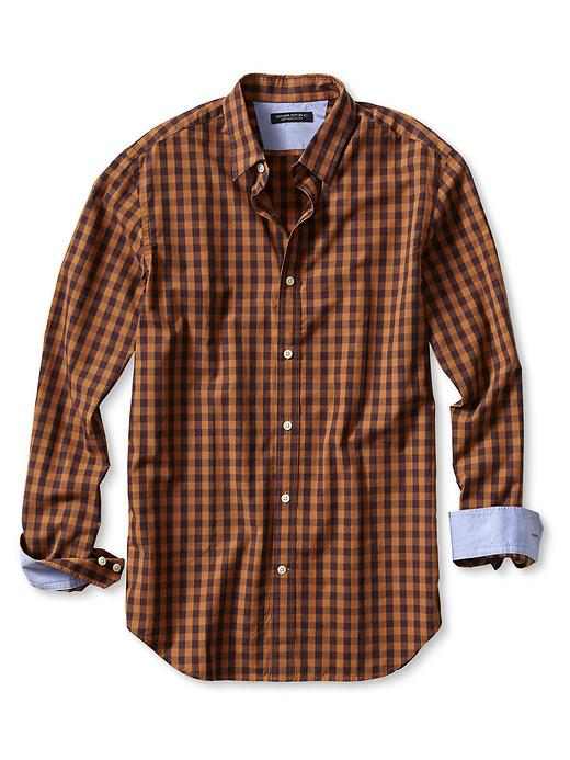 Banana Republic Slim Fit Soft Wash Tonal Gingham Shirt - Dusty orange