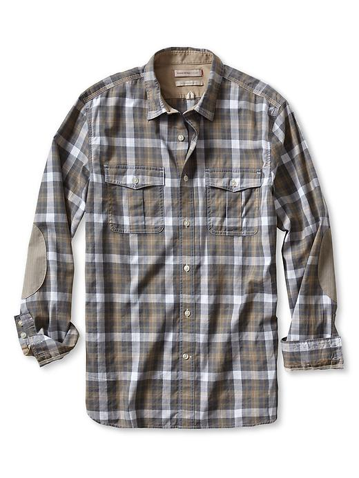 Banana Republic Heritage Heathered Plaid Military Shirt - Coconut husk