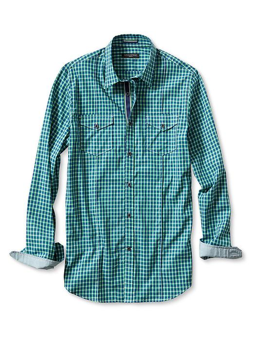 Banana Republic Slim Fit Optic Check Utility Shirt - Navy