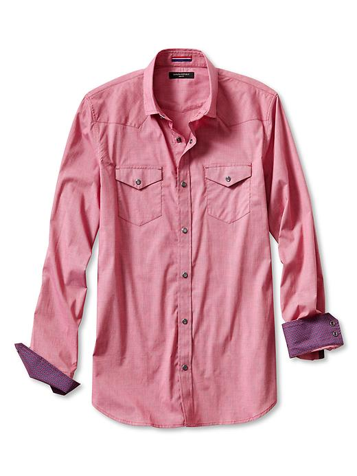 Banana Republic Slim Fit Micro Stripe Western Shirt - Red sunset