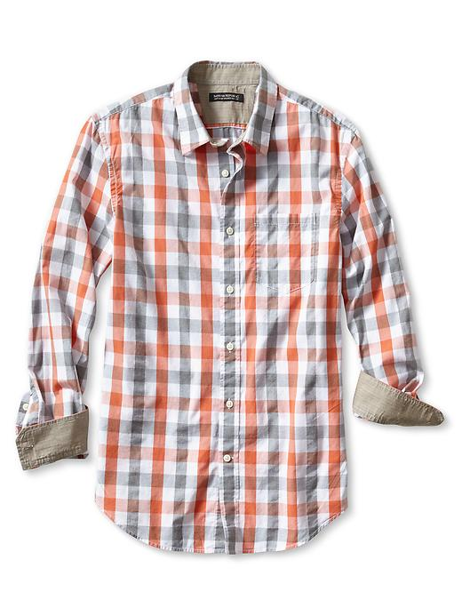 Banana Republic Tailored Slim Fit Soft Wash Bold Gingham Shirt - Holiday orange