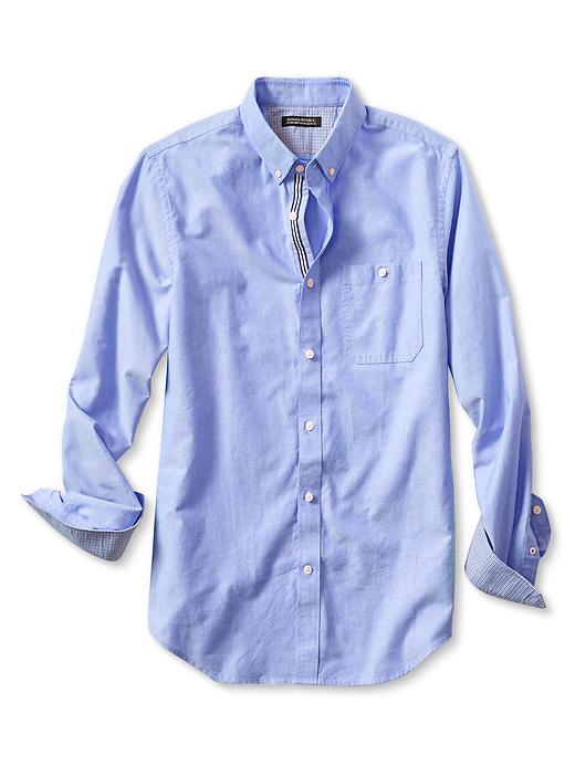 Banana Republic Tailored Slim Fit Bold Oxford Shirt - Damselfish blue