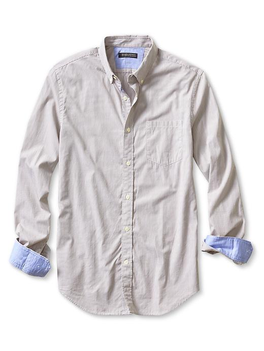 Banana Republic Tailored Slim Fit Soft Wash Micro Stripe Shirt - Taupe spice