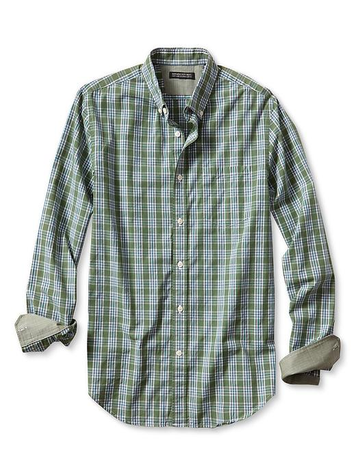 Banana Republic Tailored Slim Fit Soft Wash Open Plaid Shirt - English garden