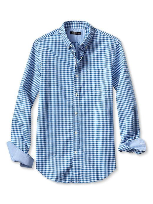 Banana Republic Tailored Slim Fit Two Tone Gingham Oxford Shirt - Damselfish blue