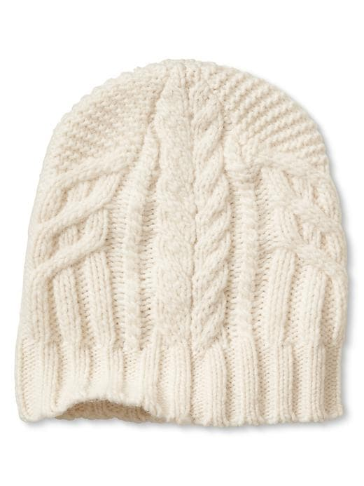 Banana Republic Cable Knit Hat Size One Size - Ivory