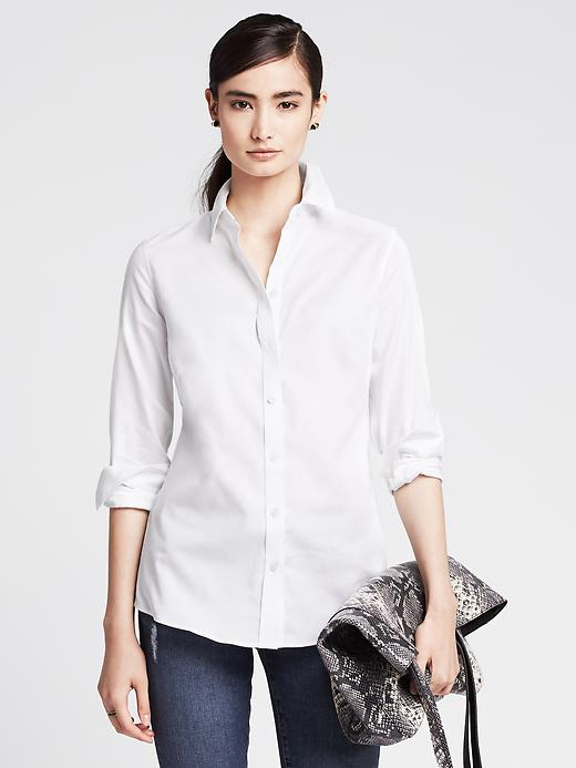 Banana Republic Womens Fitted Non Iron Basketweave Shirt Size 4 Petite - White