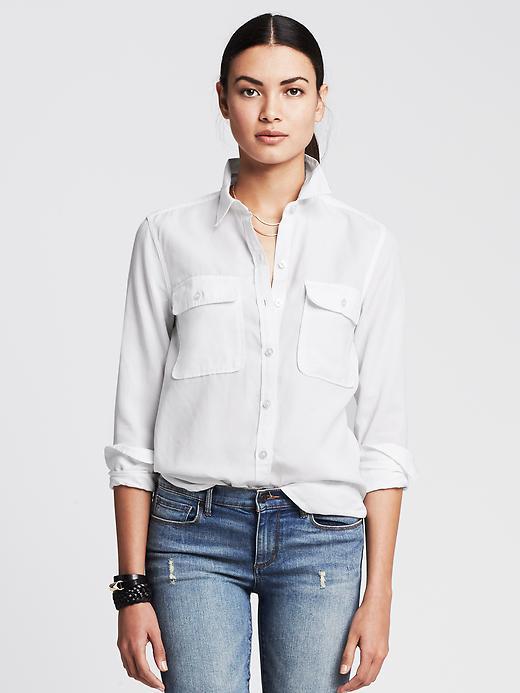 Banana Republic Womens Soft Wash Tencel Shirt Size L - White