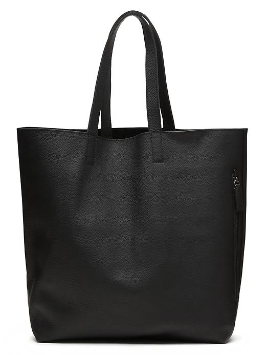 Banana Republic Leather Side Zip Tote Size One Size - Black