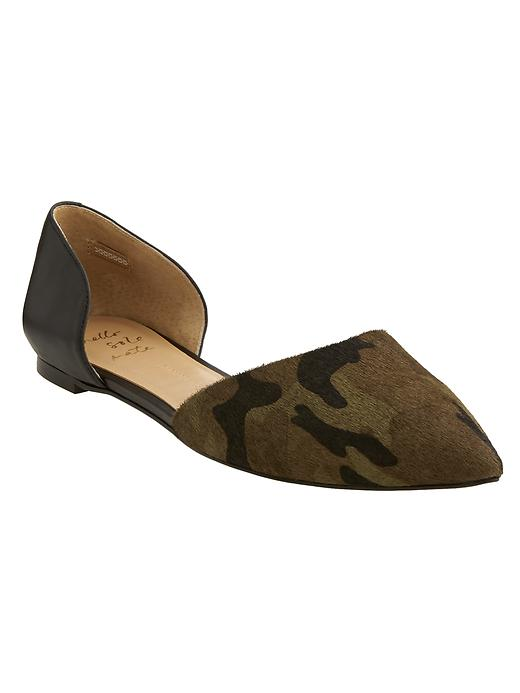 Banana Republic Womens Aiden D'orsay Flat Size 7 1/2 - Vintage olive/black