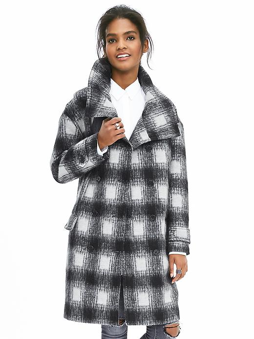 Banana Republic Plaid Double Breasted Coat Size M Petite - Black/gray