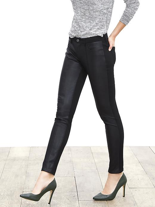 Banana Republic Sloan Fit Faux Leather Front Skinny Ankle Pant Size 0 Regular - Black