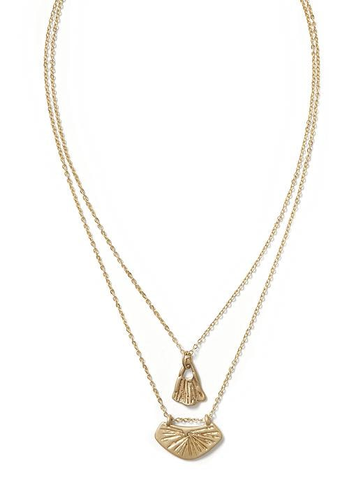 Banana Republic Gingko Leaf Layered Necklace Size One Size - Brass