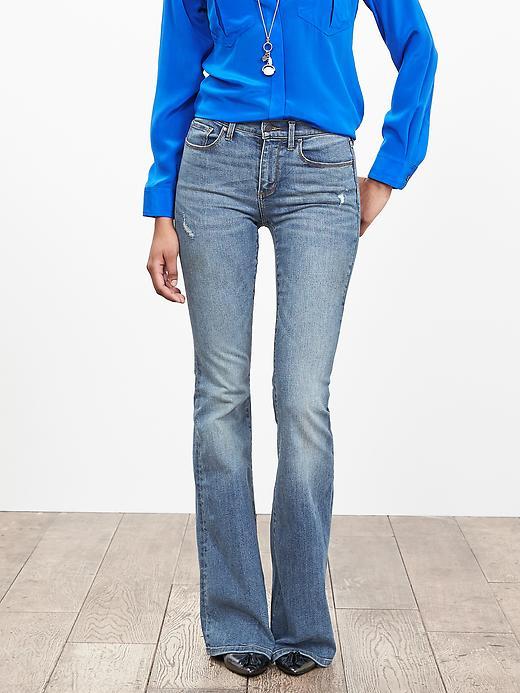 Banana Republic Womens Light Wash Flare Jean Size 6 Long Tall - Light wash