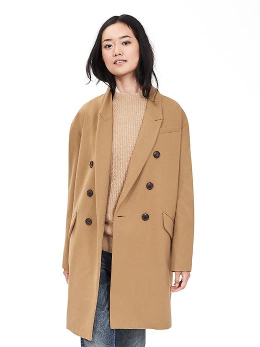 Banana Republic Womens Camel Double Breasted Coat Size S - Camel