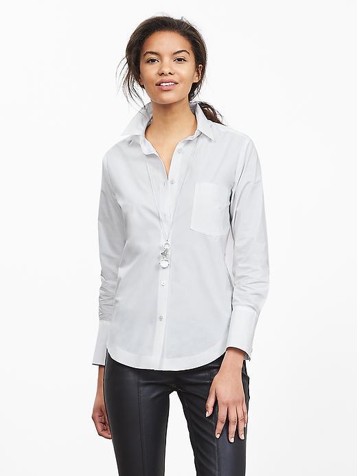 Banana Republic Womens White Poplin Boyfriend Shirt Size L - White