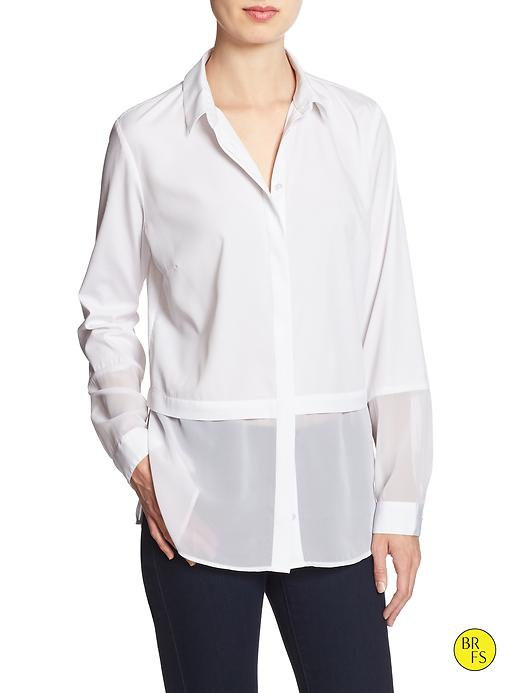 Banana Republic Factory Double Layer Blouse Size S Petite - White