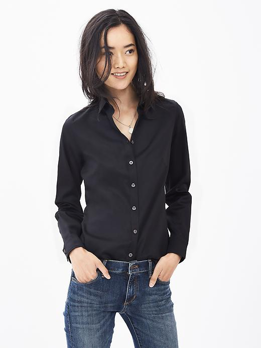 Banana Republic Womens Fitted Non Iron Sateen Shirt Size 2 - Black