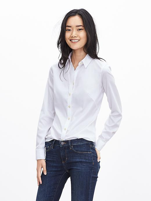 Banana Republic Womens Fitted Non Iron Sateen Shirt Size 2 - White