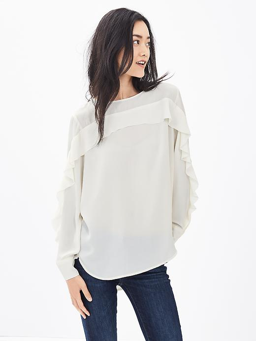 Banana Republic Ruffle Front Blouse Size XL - Cocoon