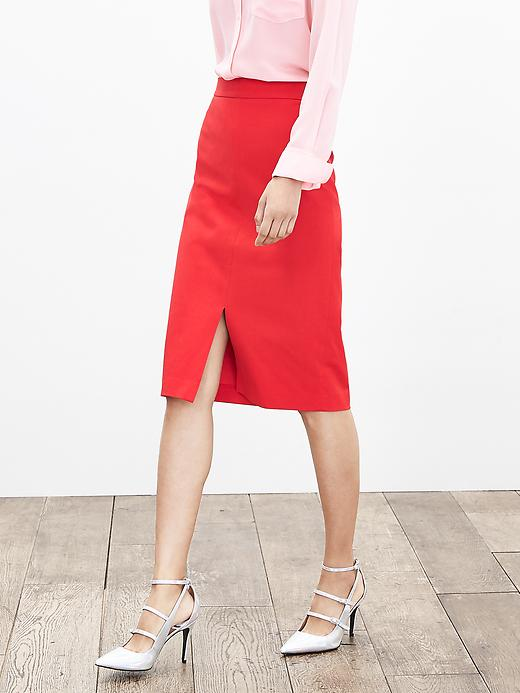 Banana Republic Womens Sloan Fit Vented Pencil Skirt Size 0 Petite - New vermillion