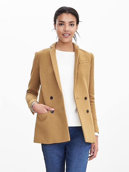 Banana Republic Womens Camel Double Breasted Blazer Size 14 Tall - Honey brown