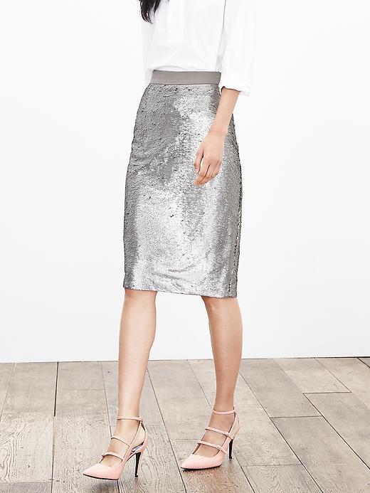 Banana Republic Womens Sequin Pencil Skirt Size 0 - Silver lake