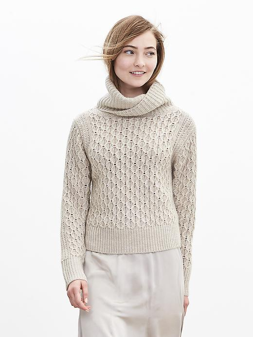Banana Republic Honeycomb Turtleneck Sweater Size L Petite - Oyster