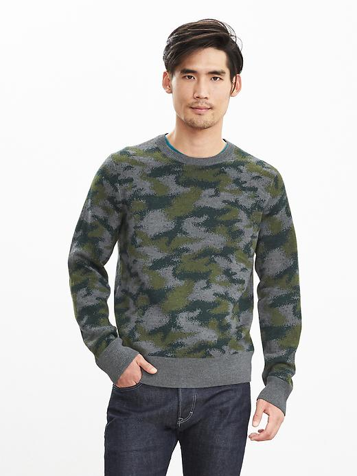 Banana Republic Camo Crew Sweater Pullover Size M Tall - Charcoal gray heather