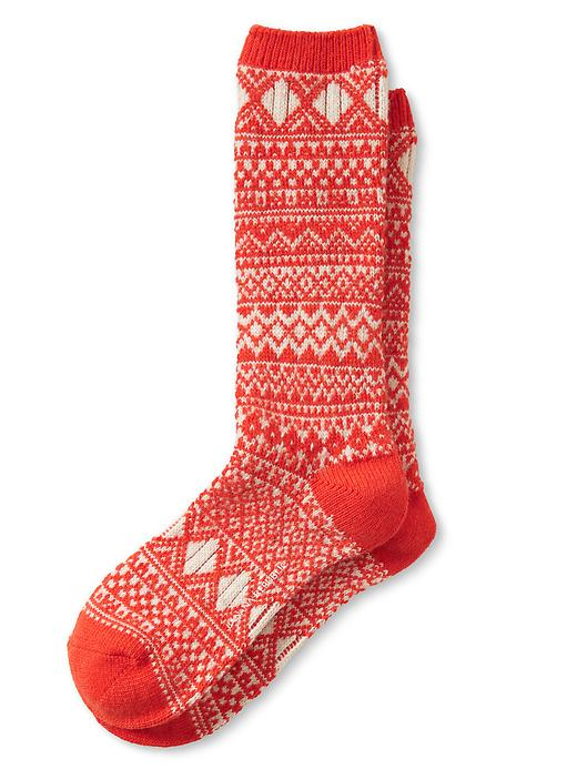 Banana Republic Fair Isle Camp Sock Size One Size - Red