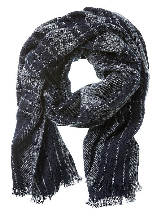 Banana Republic Navy Plaid Wool Scarf Size One Size - Navy