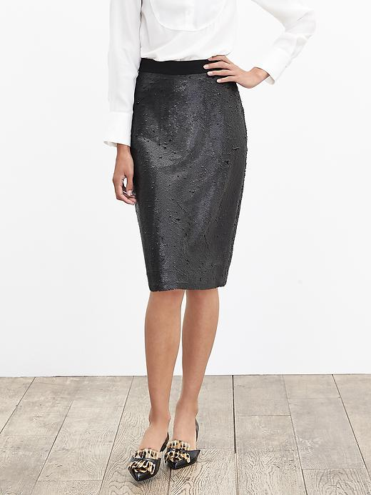 Banana Republic Womens Sequin Pencil Skirt Size 2 Petite - Dark grey heather