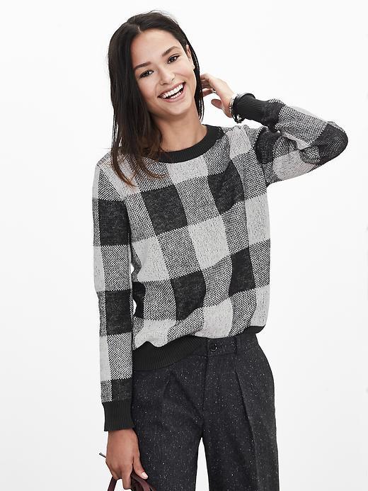 Banana Republic Buffalo Check Sweater Pullover Size S - Black