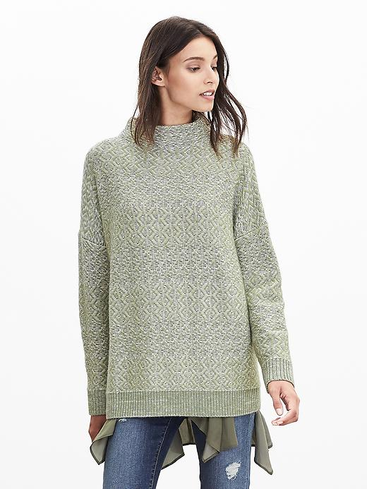 Banana Republic Heritage Textured Mock Sweater Pullover Size L - Cocoon