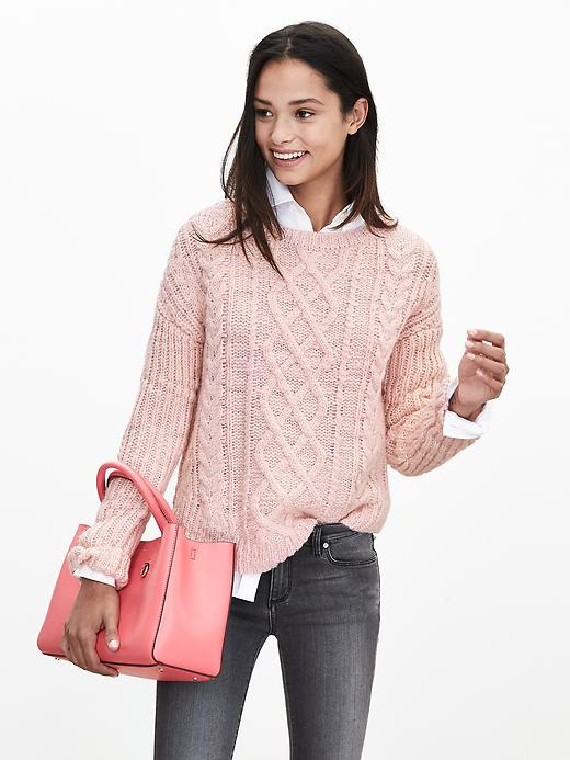 Banana Republic Chunky Cable Knit Sweater Pullover Size M Petite - Pink blush