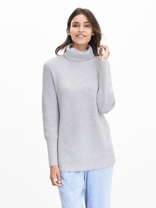 Banana Republic Womens Todd & Duncan Cashmere Long Turtleneck Size L - Gray
