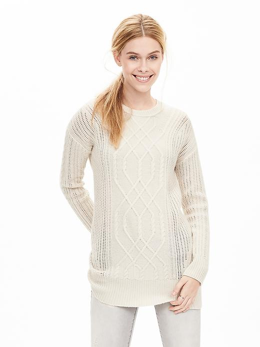 Banana Republic Womens Todd & Duncan Cable Knit Cashmere Tunic Size M - Cream