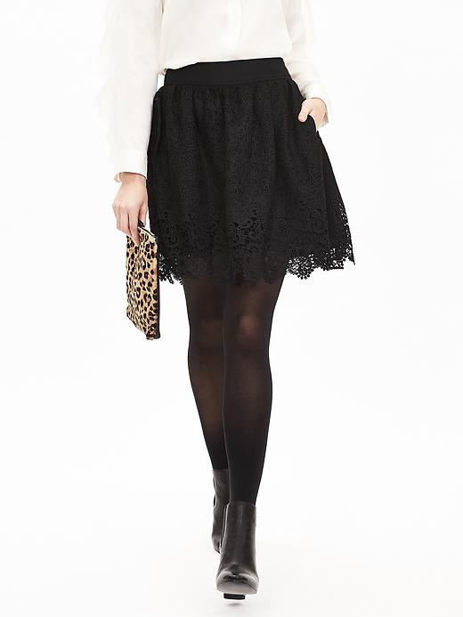 Banana Republic Womens Heritage Lace Fit And Flare Skirt Size 0 - Black