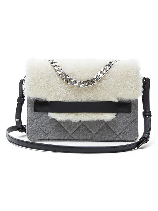 Banana Republic Shearling Flap Chain Shoulder Bag Size One Size - Heather gray