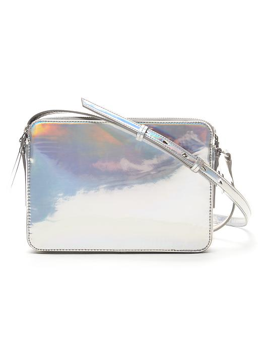 Banana Republic Hologram Double Zip Crossbody Size One Size - Silver