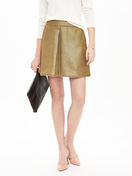 Banana Republic Womens Coated Gold Tweed Inverted Pleat Skirt Size 10 - Gold leaf