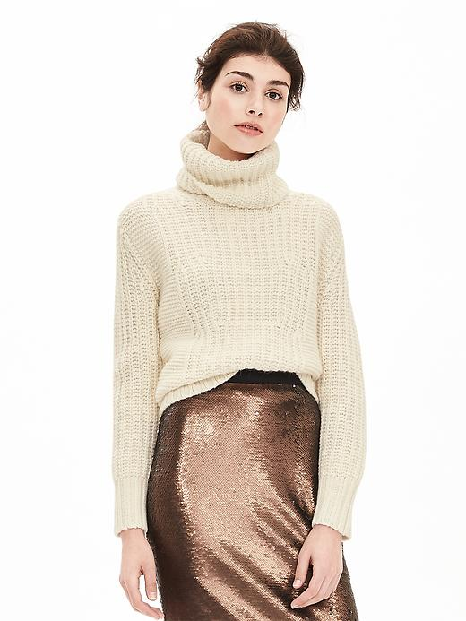 Banana Republic Mixed Stitch Turtleneck Sweater Size L Petite - Cocoon