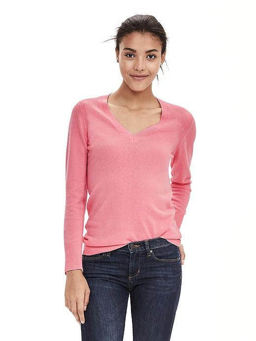 Banana Republic Italian Cashmere Blend Vee Sweater Pullover Size L - Sunset pink