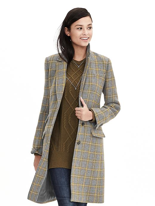 Banana Republic Plaid Three Button Tailored Coat Size S - Heather gray